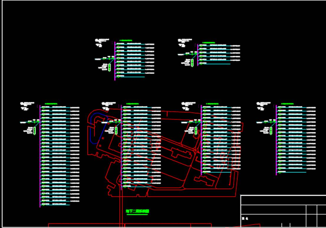充电桩平面及系统图电气CAD布线图