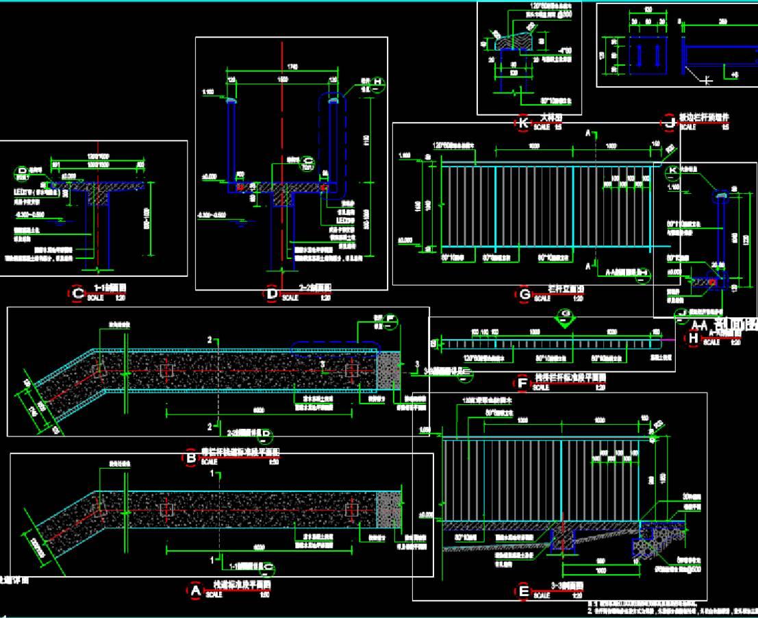混泥土亲水栈道做法建筑结构图CAD