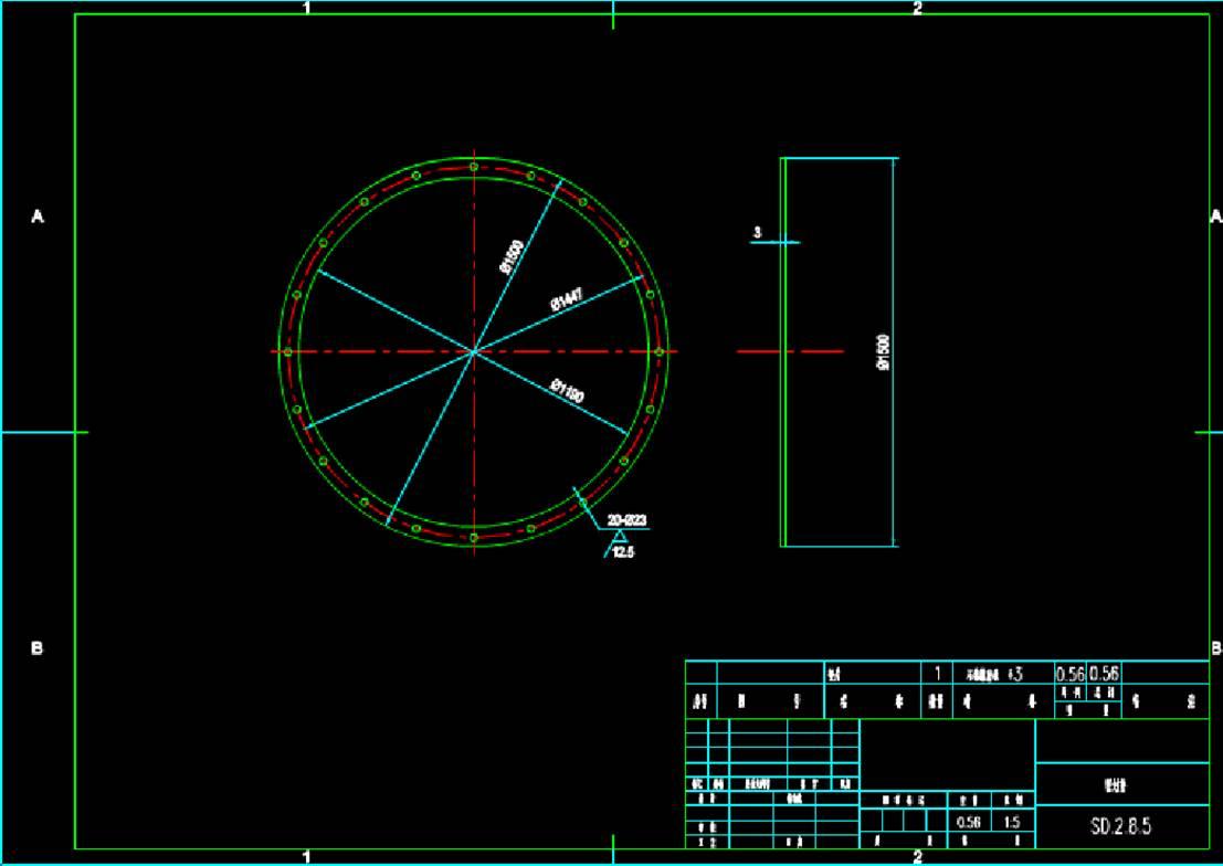 石棉橡胶板零件机械工程CAD制图