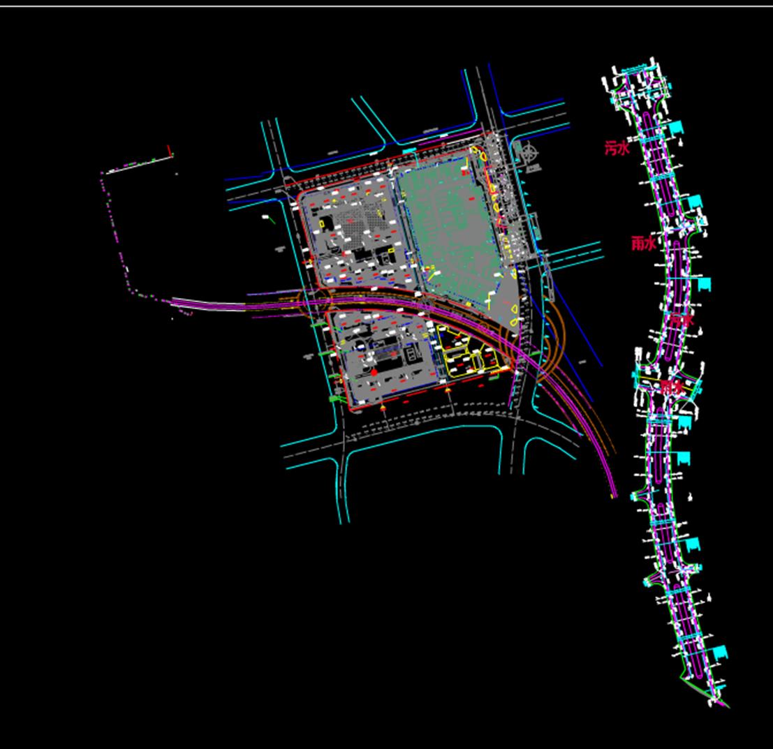办公楼CAD规划图-大商业外线图