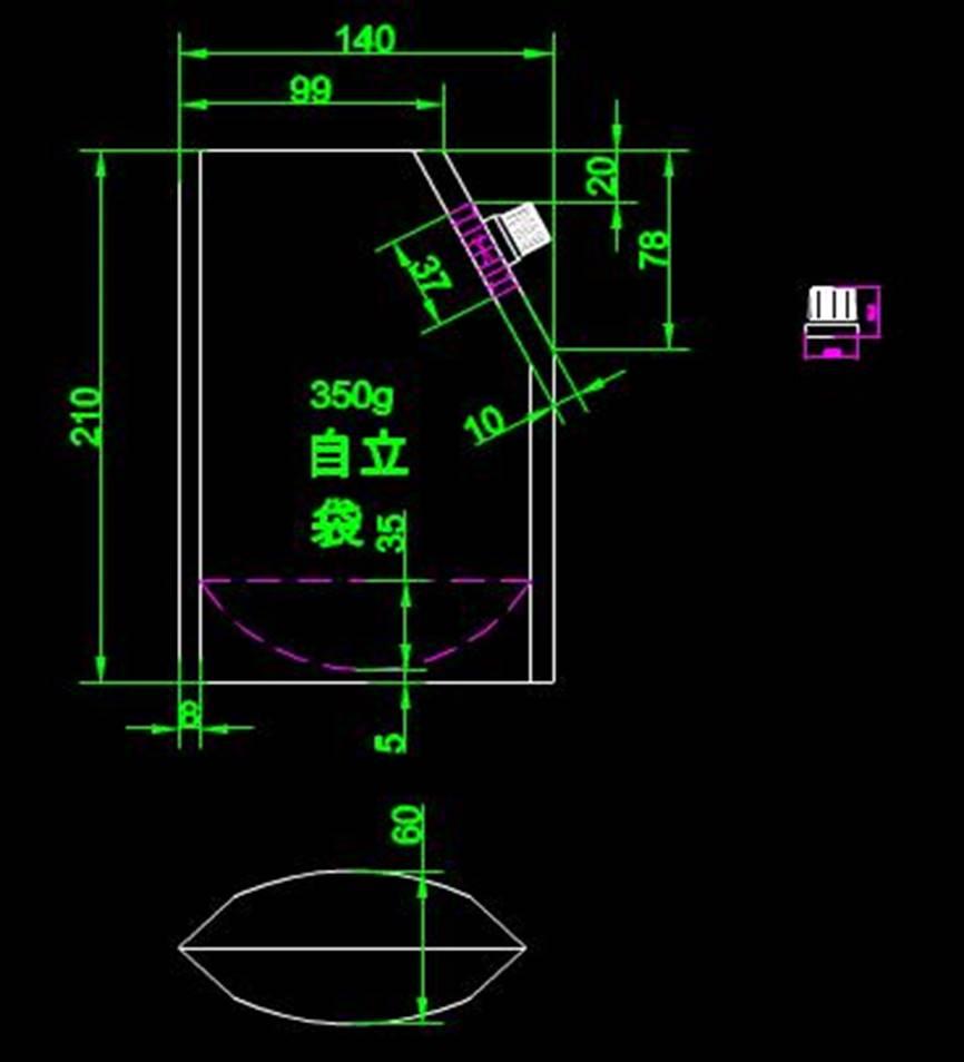 某规格包装袋的CAD平面设计图纸