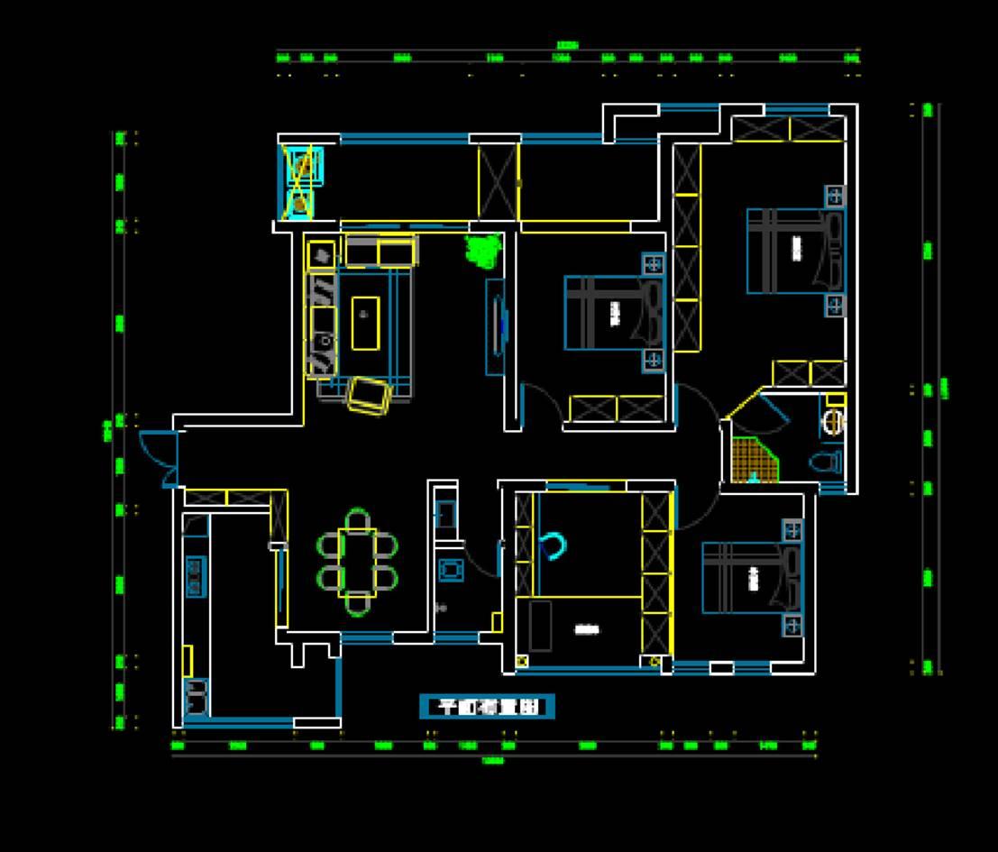 建筑工程CAD绘制平面户型图