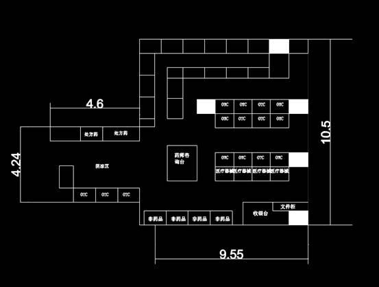 室内设计CAD绘图之药房平面图