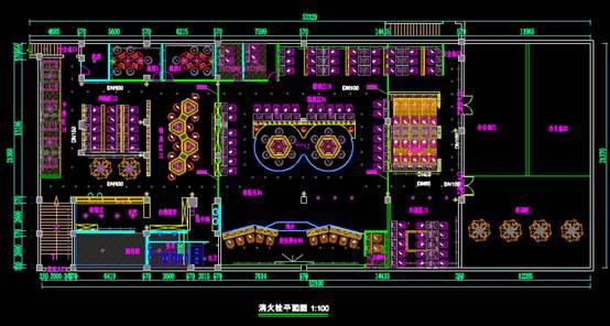 大型网咖设计室内设计CAD绘图