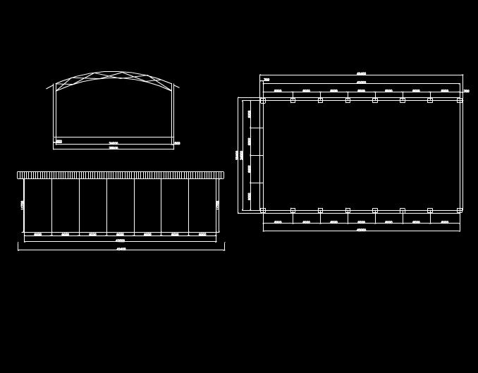 石龙铁棚建筑结构图CAD