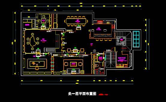 某建筑负二层和一层CAD平面室内图
