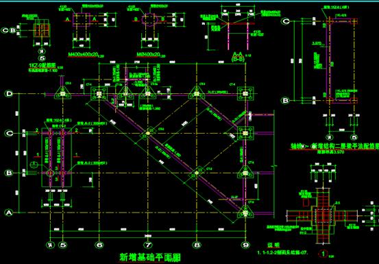 信息大楼钢的CAD结构设计图