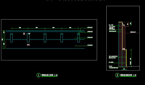 CAD结构图设计—围墙加固剖面图