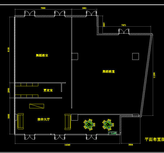 舞蹈房的CAD建筑制图图纸.