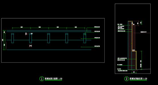 围墙东侧加固的CAD剖面图
