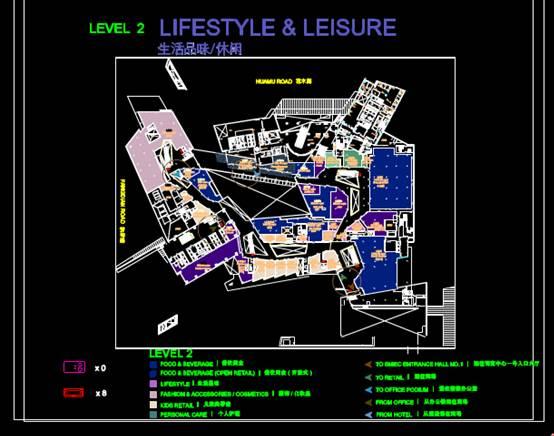 CAD商业建筑设计图中商铺布局图