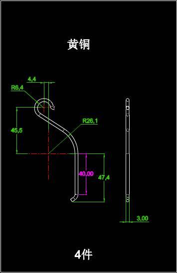 CAD五金工具图纸之铜钩设计
