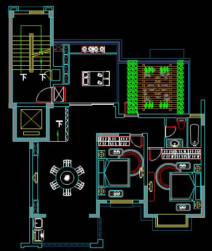 某两层楼房的CAD住宅装修施工图