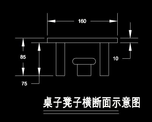 CAD装修器材图之凳子桌子平面图