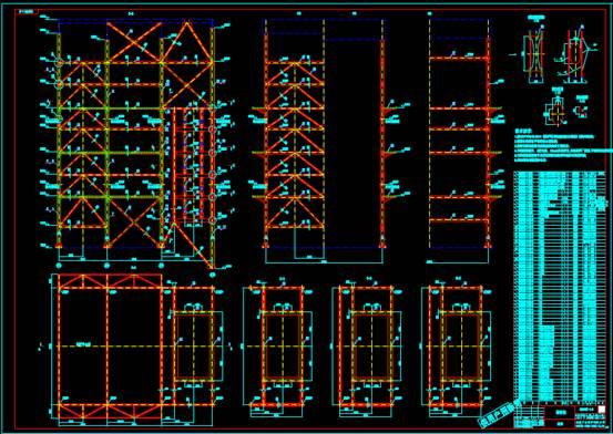 某建筑物的CAD建筑结构中的墙柱图
