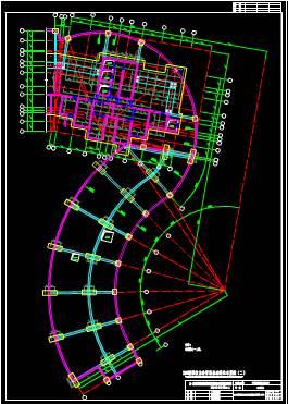 异形建筑的CAD建筑结构中墙柱图