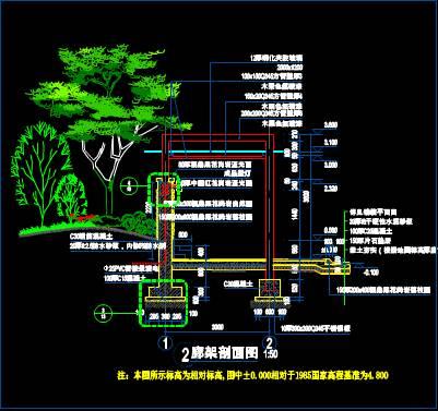 装饰设计CAD图纸之廊架设计