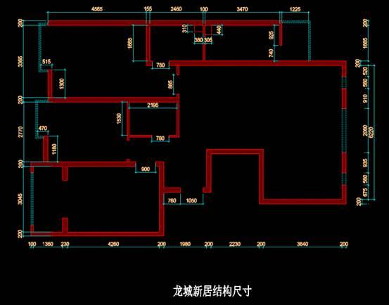 CAD室内设计方案之龙城新居结构尺寸