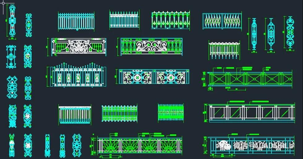CAD图库——铁艺栏杆
