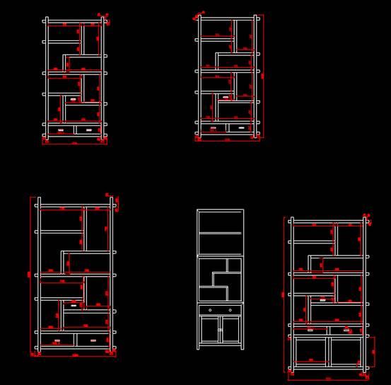 CAD家具设计图纸之1号博古架