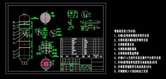 CAD机械制图图纸下载之喷淋塔