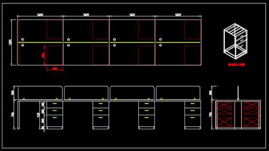 CAD机械制图之屏风单体图二