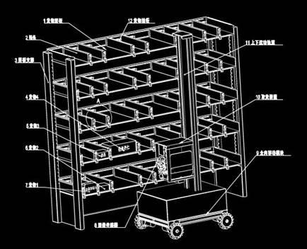 自动识别货物位置的自动售货机的CAD机械图纸