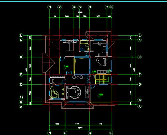 CAD别墅建筑设计平面方案图