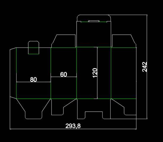 CAD模具图纸设计图之南非包装刀模80X60X120