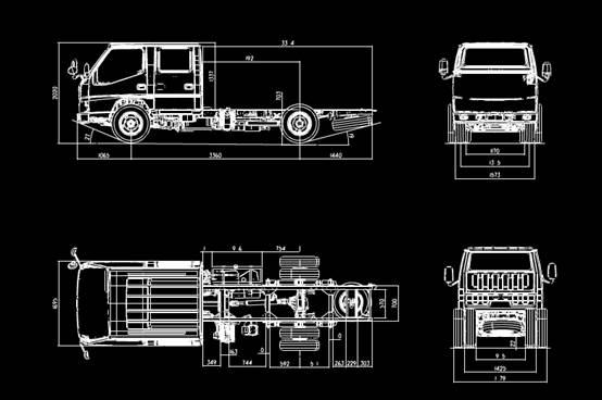 车辆模型的CAD设计图之N600双排3360轴距车型