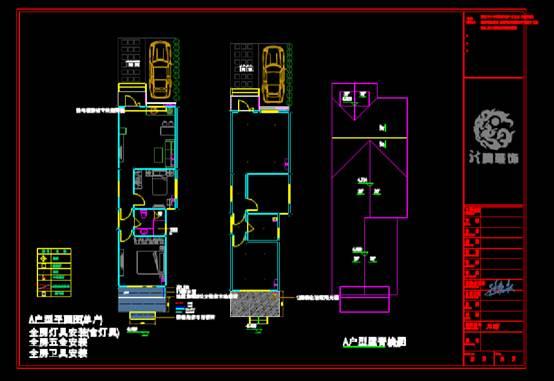 装饰设计CAD施工图之全木A户型建筑施工图