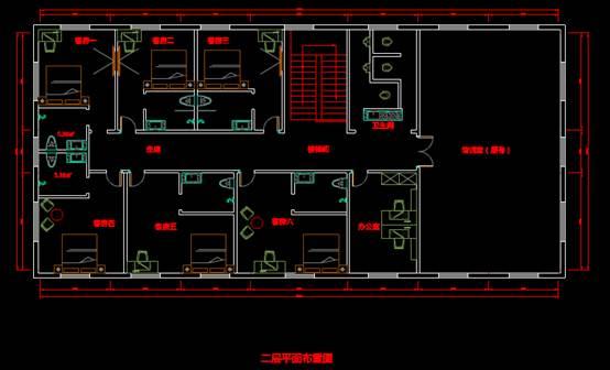 某宾馆酒店建筑CAD图纸之平面布置图