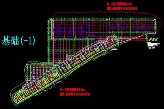某地下室的CAD结构设计图