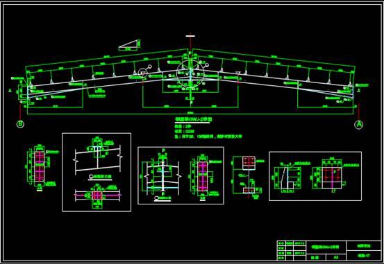 某厂房的CAD建筑设计中钢结构图纸