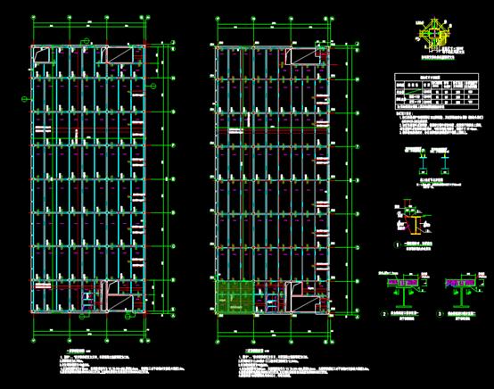 钢框架及楼梯的CAD建筑设计中钢结构图纸