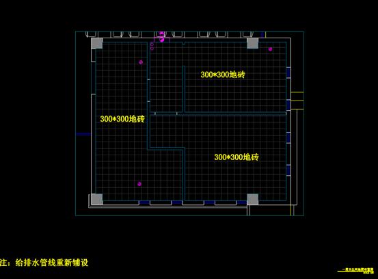 食堂卫生间装饰设计CAD平面系统图