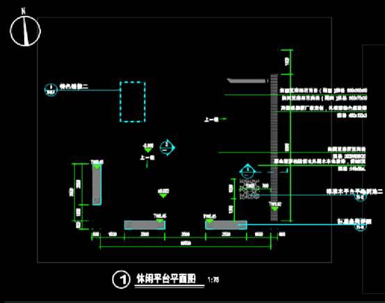 园林景观CAD图纸之休闲平台详图