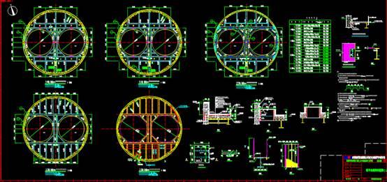 圆形建筑CAD建筑设计中钢结构图纸