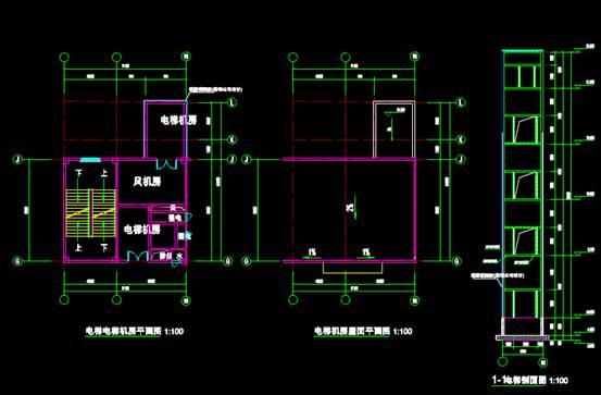 承天电梯CAD建筑设计中钢结构图纸