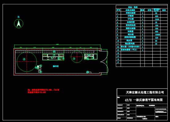 CAD机械图纸之反渗透平面布局图