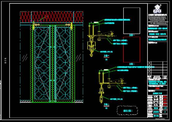 地弹门新增防掉链条的建筑设计CAD图纸