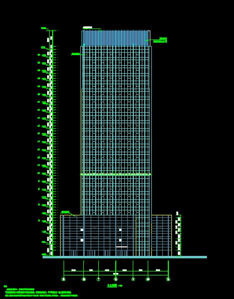 建筑设计CAD图纸之办公楼正立面图