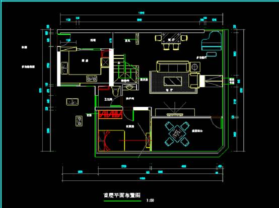 CAD建筑图纸快速查看之二层建筑装修CAD图