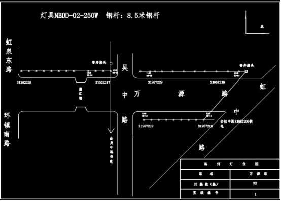 CAD图纸设计之某区域路灯灯位CAD图