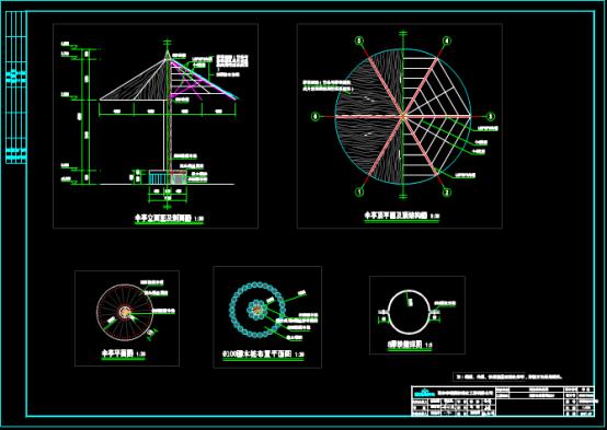 CAD绘制景观设计图之伞亭设计节点图