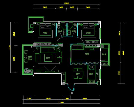 建筑室内平面布置的CAD图纸查看
