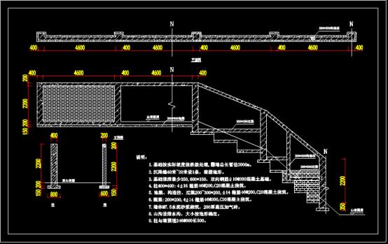 某围墙结构设计CAD图纸学习参看