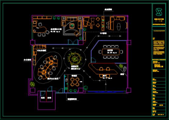 证券公司会客厅CAD装饰方案图纸下载