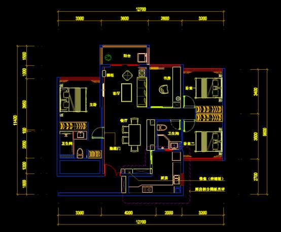住宅室内平面布置CAD图纸学习参考