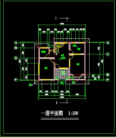 别墅一层平面CAD图纸设计方案
